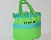 Lime Green Personalized Polka Dot Bag with Name Embroidered on it. Ruffle Bag. Dance Bag, Swim bag, Book Bag, Princess Bag, Easter Basket