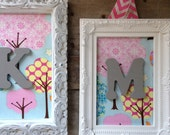 Framed Monogram Personalized Nursery Set of 3 Shabby Chic Stylish Baby Nursery Children Kids Decor