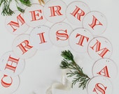 Letterpress Garland, Merry Christmas, red edge