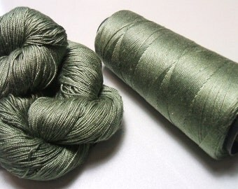 100% Pure Mulberry Queen Lace Silk Yarn 50 gram 3 Ply Sage Forest Floor QS013 Lot D