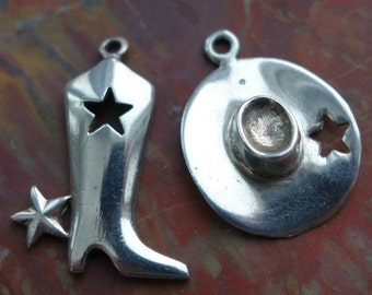 Rockabilly Lone Star Sterling Boot and Hat Charms