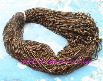 Promotion sale 20pcs 18 inch 1.5mm antiqued bronze ball necklace chain with lobster clasps,very small end