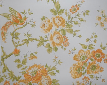 birds and flowers...vintage wallpaper in oranges and yellows