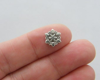 12 Snowflake spacer beads tibetan silver SF17