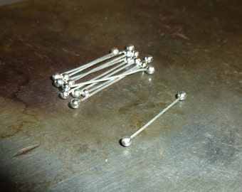 10 Fine Silver Twists  - 28 Gauge - Double Headpin - Barbell - Handmade Choose your Length
