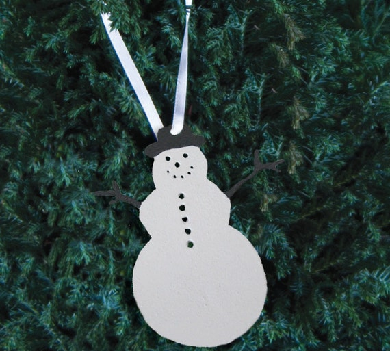 Snowman ornament plant stake metal holiday