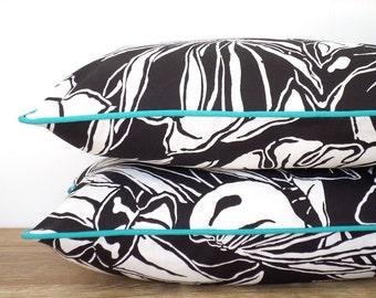 Black outdoor pillow cover 20x12 modern outdoor living, tropical outdoor pillow turquoise piping, beach pillow black and white decoration
