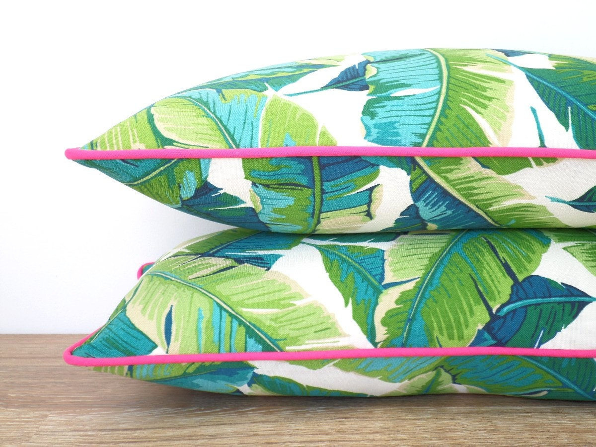 Tropical outdoor pillow cover palm leaf pillow pink piping