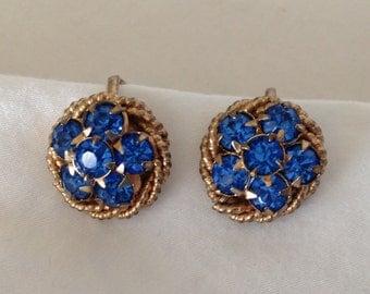 BLUE RHINESTONE Button Earrings screw backs