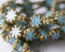 Tiny Sky Blue Daisy Beads - Premium Czech Glass - Czech Glass Beads - Table Cut Beads - Flat Flower Beads - Bead Soup