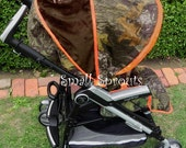 Camo Baby Mossy Oak Breakup/Orange Minky/Brown Minky/Add Buck Brown Monogram Stroller Cover