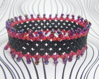 WILD CHILD Red Bracelet, Beaded Cuff Bracelet, Hand Beaded Seed Bead Jewelry, Bead Lace Stretch Bracelet, Bead Netting, Bead Embroidery