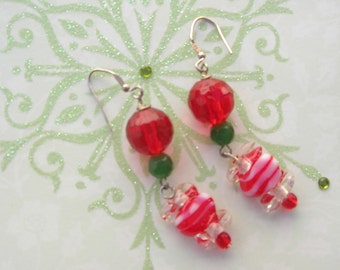 Christmas in July! Ear Candy Earrings, Lampwork Glass Candies, Glass Beads, Sterling Silver, Holiday Earrings by SandraDesigns