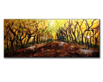 Original New York Central Park Landscape Abstract Painting Fine Art On Canvas Art by Henry Parsinia 60x24