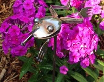 LEAP FROG! Silverware Garden Art