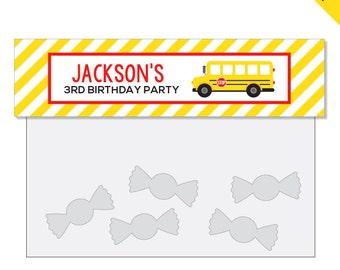 School Bus Party - Personalized DIY printable treat bag label
