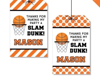Basketball Party - Personalized DIY printable favor tags