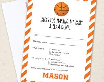 Basketball Thank You Cards - Professionally printed *or* DIY printable