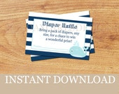 INSTANT DOWNLOAD - Baby Girl Diaper Raffle Tickets - Blue and White Nautical Whale