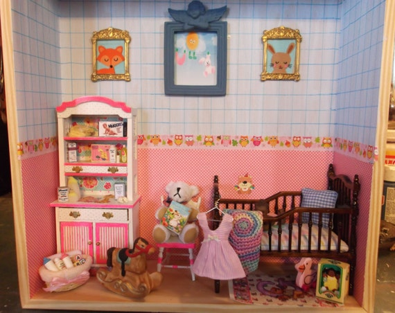 Baby Bedroom In A Box Special: Baby Girl Nursery Shadow Box III By Rustybutz1 On Etsy