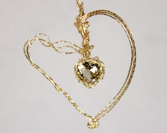 Heart Shaped  Smokey Quartz Perfectly Faceted Wrapped in 14KT gold filled wire