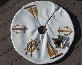 "Nautical TABLETOP TREE SKIRT Christmas 28"" ship's wheel anchor sailboat yacht sailing Crabby Chris Original"