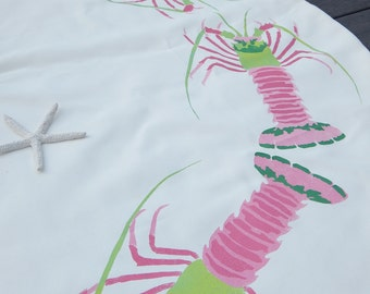 """EXTREMELY LIMITED EDITION spiny lobster migration Christmas tree skirt pink green 52"""" Florida Lilly Crabby Chris Original"""