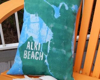 "Outdoor pillow SEATTLE ALKI BEACH handpainted 14""x18"" customized your neighborhood Puget Sound Washington Crabby Chris Original"