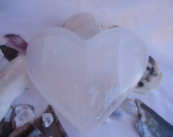 Selenite Heart, Large Selenite Heart, Clarity, Intuition, Psychic Work, Love Connection, Healing, Altar Heart