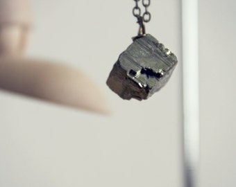 The Cube Pyrite Necklace / Raw Pyrite Pendant / Simple Small Necklace