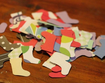 Small Christmas Stocking Die Cuts from re-purposed paper