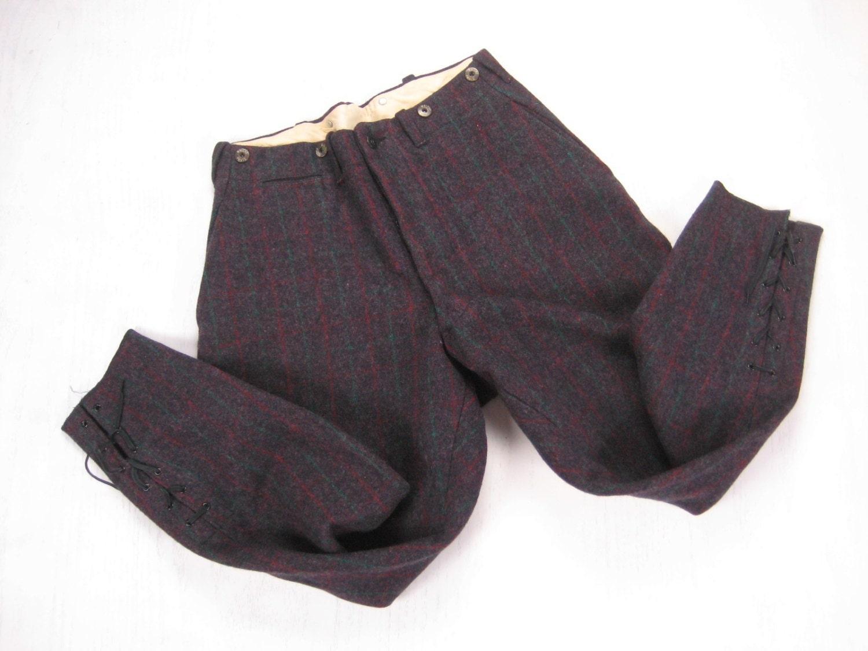 Men's Wool Hunting Pants 1950s 1960s Vintage Men's