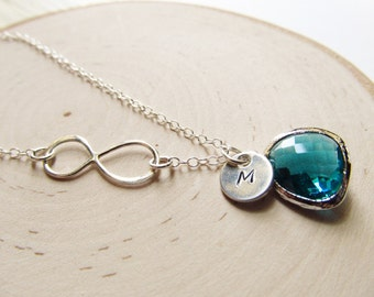 Infinity Necklace Birthstone, Personalized Necklace Initial and Birthstone, Sterling Silver Infinity, Birthstone Necklace, Bridesmaid Gift