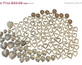 Vintage Heart Charms Silver Brass Victorian Vintage Style Floral Art Nouveau for Jewelry making