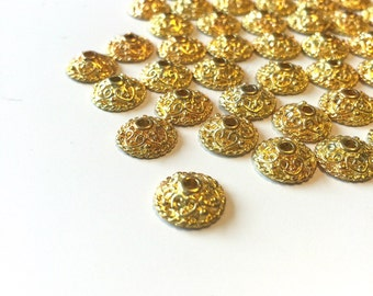 Gold Bead Caps 200 plus Hearts Findings for jewelry making supplies destash