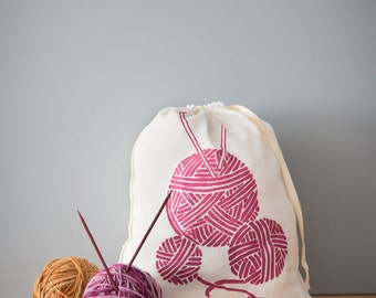 Knitting Project Bag, Organic Linen Drawstring Bag, Cloth Gift Bag , Screen Printed with Yarn Design