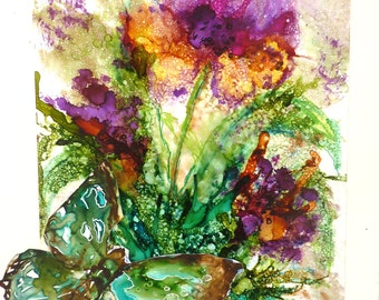 Alcohol   Ink Floral by Maure Bausch