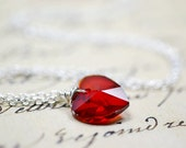 Red Heart Necklace, Warm Red Crystal Necklace, Valentines Day Wedding Jewelry, Red Bridesmaids Jewelry, Red Heart and Sterling Silver Chain
