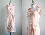 70s Vintage Printed Dress - Orange Creamsicle Sundress - Giraffe Illustration Print by SARA, Howland Originals
