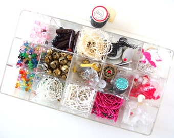 Craft Destash Pearls, Beads, Bells, Etc. Plus Plastic Craft Storage Organizer
