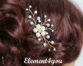 Something Blue Hair Pin, Wedding Hair Accessories, Silver wired vines, Swarovski White Blue pearls. Bridesmaid hair do, Bridal Bride pin