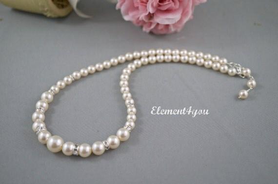 Bridal necklace Wedding jewelry Swarovski pearls Classic single strand pearl necklace Beaded handmade Rhinestone Silver Bridal party gifts