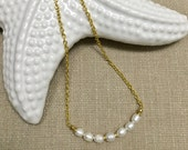 Dainty Minimalist Procession of 7 Freshwater Pearls with Gold Accents on a Cable Gold Reflective Chain / Gift for Her