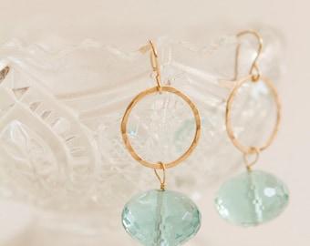 Blue Quartz Earrings | Dangle and Drop Earrings | Gemstone Jewelry | Dainty Jewelry| Hammered Hoop Earrings