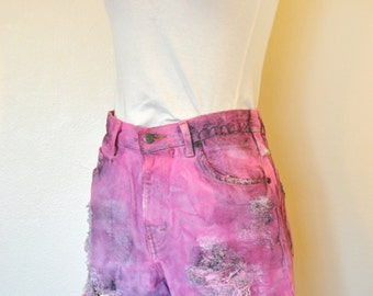 Pink Sz 8 Denim SHORTS - Fuchsia Pink Dyed Painted Upcycled Distressed High Waist Eddie Bauer Shorts - Adult Misses Size 8 (30 Waist)