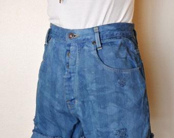 "Blue Sz 9 Denim SHORTS - Urban Royal Blue Dyed High Waist Button Fly Vintage Paris Sport Club Shorts - Adult Womens Size 9 (26"" Waist)"
