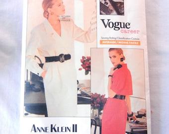 Vogue Career Pattern Trench Coat Dress, Designer Anne Klein II, 2057, Misses 6 Bust 30 1/2, 40s Noir Detective Style