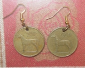 Authentic Vintage Celtic Bronze Irish Coin Harp Horse Dangle Earrings