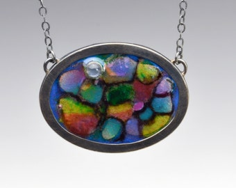 Enameled Abstract Garden Necklace With Moonstone and Silver Chain