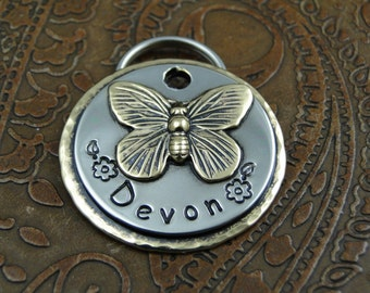 Butterfly ID Pet Tag, Custom Dog ID Tag, Handmade Dog Collar Butterfly Tag